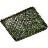 Greg Everett Handcrafted Custom Gator Stamped Leather Valet Tray 11.375 inch X 8.25 inch Green Finish