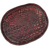 Greg Everett Handcrafted Custom Gator Stamped Leather Valet Tray 11.5 inch X 8.75 inch Rustic Reddish Brown Finish