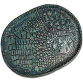 Greg Everett Handcrafted Custom Gator Stamped Leather Valet Tray 11.375 inch X 8.875 inch Turquoise  Finish