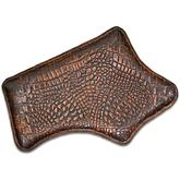 Greg Everett Handcrafted Custom Leather Valet Tray 13 inch X 8.5 inch Rustic Brown Finish