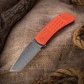 Anthony Griffin Custom Lanny's Clip Tanto Front Flipper 3.5 inch Nichols Raindrop Damascus Blade, Orange G10 Handles