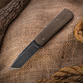 Anthony Griffin Custom Tanto Slipjoint Folding Knife 3 inch Acid Washed A2 Blade, Green Canvas Micarta Handles