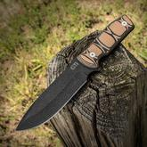 Gingrich Tactical Innovations GTI Custom Fighter Fixed 5.25 inch Black Traction Coated 5160 Blade, Milled Tan/Black G10 Handles, Kydex Sheath