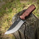Gingrich Tactical Innovations GTI Custom Forged Hunter Fixed 4.75 inch Two-Tone 1095 Drop Point Blade, Rosewood Burl Handles, No Sheath