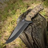 Gingrich Tactical Innovations GTI Custom Maximus Fixed 6 inch Black 1095 Bowie Blade, Milled Tri-Color G10 Handles, Nylon Sheath