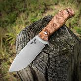 Gingrich Tactical Innovations GTI Custom Willow Leaf Fixed 4 inch Satin 80CrV2 Leaf Shaped Blade, Maple Burl Handles, No Sheath