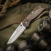Rick Hinderer Custom Firetac Folding Knife 3.625 inch Hand Ground Drop Point Blade, Brown Micarta and Blue Titanium Handles