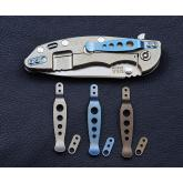 Rick Hinderer Knives Blue Anodized Holey Titanium XM Pocket Clip and Filler Tab
