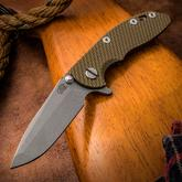 Rick Hinderer Knives XM-18 3 inch Flipper, S35VN Working Finish Spanto Blade, OD Green G10 Handle