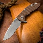 Rick Hinderer Knives XM-18 3 inch Flipper, S35VN Stonewashed Recurve Blade, Flat Dark Earth G10 Handle