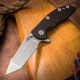 Rick Hinderer Knives XM-18 3 inch Flipper, S35VN Stonewashed Harpoon Tanto Blade, Black G10 Handle