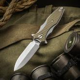 Rick Hinderer Maximus Dagger Flipper 3.5 inch CPM-20CV Stonewashed Double Edge Blade, OD Green G10 Handles