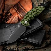 Rick Hinderer Knives Jurassic Flipper 3.25 inch S35VN Black DLC Spear Point Blade, Black/Green G10 Handle
