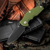 Rick Hinderer Knives Jurassic Flipper 3.25 inch S35VN Black DLC Spear Point Blade, OD Green G10 Handle