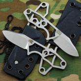 Rick Hinderer Knives LP-1 Fixed Neck Knife 1.75 inch Stonewashed S35VN Blade, Skeletonized Handle, Kydex Sheath