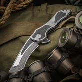Jake Hoback Custom Paraclete Zero Gravity Flipper 3.75 inch CTS-XHP Two-Tone Fallout Blade and Titanium Handles with Carbon Fiber Inlays