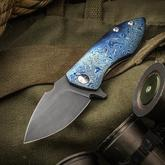 Kendall Hughes Custom Oath Flipper 2.75 inch CPM-S110V Acid Etched Blade, Timascus and Orange Peel Titanium Handles, Zirconium Clip