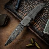 Jason Clark Custom Hybrid Drop Point Flipper 3.625 inch Glock Damascus Blade, Silver Lightning Strike Carbon Fiber Handle with Zirconium Bolster