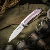 Ken Onion Custom-Tech Slacker Flipper 3.25 inch CPM-154 Hand Rubbed Satin Blade, Milled Fuchsia Titanium Handles