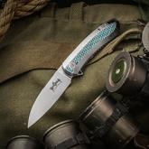 Ken Onion Custom-Tech Slacker Flipper 3.25 inch CPM-154 Hand Rubbed Satin Blade, Milled Teal Titanium Handles