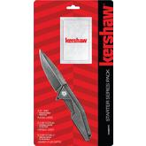 Kershaw 1318KITX Starter Series Pack, Assisted Opening Blackwash Flipper and Playing Cards