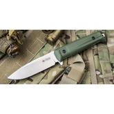 Kizlyar Supreme Sturm AUS8 Fixed 4.25 inch Satin Blade, OD Green Kraton Handles and Polyamide Sheath