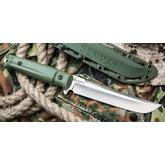 Kizlyar Supreme Senpai AUS8 Fixed 6.75 inch Satin Tanto Blade, OD Green Kraton Handles and Polymide Sheath