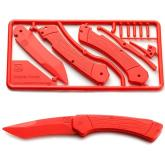 Klecker Trigger Folding Plastic Knife Kit 3.2 inch Blade, Red