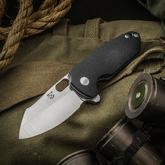 KM Designs Custom Fatboy Flipper 3.125 inch CPM-154 Satin Blade, Black G10 Handles