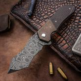 Daniel Koert Custom Model 1 Flipper 3.75 inch Nichols Blackout Damascus Compound Tanto Blade, Carbon Fiber Handles with Bronze Titanium Bolsters