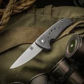 Alan Kritzman Custom Mini AKF-4 Flipper 3 inch S35VN Hand Rubbed Satin Blade, Blasted Titanium Handles with Holes