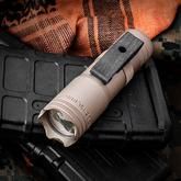 LensLight Mini Tan LED Flashlight, Crenulated Bezel, Single Output, 330 Max Lumens