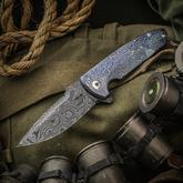 Les George Custom Full-Dress Rockeye Flipper 4 inch Nichols Blackeye Damascus Blade, 3D Machined Mokuti Handles and Pocket Clip