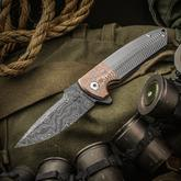 Les George Custom Rockeye Flipper 4 inch Nichols Blackhole Damascus Blade, 3D Machined Titanium Handles with Superconductor Bolster