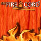 Live Fire Gear 550 FireCord Paracord, Safety Orange, 25 Feet