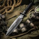 Marfione Custom Knives Interceptor Fixed 7.875 inch Two-Tone Stonewashed DLC M390 Double Edge Blade, Micro Cord/Titanium Handle, Leather Sheath