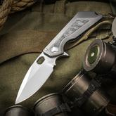 Marfione Custom Knives/Mick Strider MSG 3.5 Integral Flipper 3.5 inch M390 Mirror Polished Blade, Titanium Handle with Meteorite Inlay, Nylon Pouch