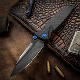 Marfione Custom Knives Socom Elite Folding Knife 4 inch M390 Mirror Polished DLC Clip Point Blade, Carbon Fiber Handles, Blue Hardware