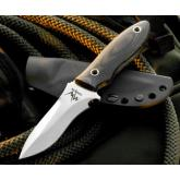 Mercworx Orion Combat Knife 3.75 inch S30V Plain Satin Blade, Black Linen Micarta Handles, Kydex Sheath