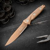 Microtech 113-2PVDTN Socom Alpha Fixed 5.45 inch Tan PVD Clip Point Combo Blade, G10 Handles, Kydex Sheath