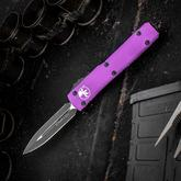 Microtech 122-1 Ultratech AUTO OTF 3.46 inch Black Plain Double Edge Dagger Blade, Violet Aluminum Handle