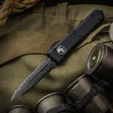 Microtech 122-D3DLCT Ultratech Tactical AUTO OTF 3.46 inch Black DLC Serrated Double Edge Dagger Blade, Black Aluminum Handle
