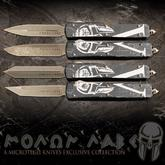 Microtech Exclusive Collection Molon Labe Spartan Ultratech AUTO OTF 3.46 inch Bronze Apocalyptic Elmax Double Edge Tanto Blade, Distressed Aluminum Handle