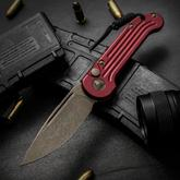 Microtech 135-13RD LUDT AUTO 3.375 inch Bronze Plain Blade, Red Milled Aluminum Handles