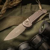 Microtech 135-1TN LUDT AUTO 3.375 inch Tan Plain Blade, Aluminum Handles and Hardware
