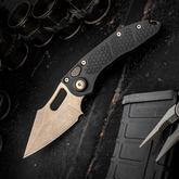 Microtech/Borka Blades 169-13 AUTO Stitch 3.625 inch Bronze Spear Point Blade, Black Aluminum Handles