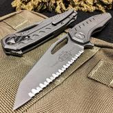 Microtech/DC Munroe 196-12APCF Sigil MK6 Flipper 3.875 inch Apocalyptic Serrated Blade and Milled Titanium Handles, Carbon Fiber Plate