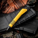 Microtech Siphon II Yellow Stainless Steel Pen with Pocket Clip, Black Ink