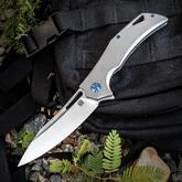 Olamic Cutlery Mid-Tech Swish Flipper 3.75 inch Satin Elmax Blade, Bead Blasted Titanium Handles with File Worked Backspacer