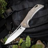 Olamic Cutlery Mid-Tech Swish Flipper 3.75 inch Satin Elmax Blade, Bronze Stonewashed Titanium Handles with File Worked Backspacer